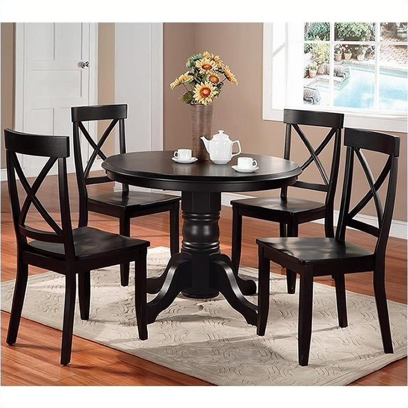 Bowery Hill Round Pedestal Dining Table in Black by Bowery Hill