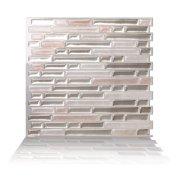 Tic Tac Tiles - Premium Anti Mold Peel and Stick Wall Tile Backsplash in Como Sand (10-Tiles)