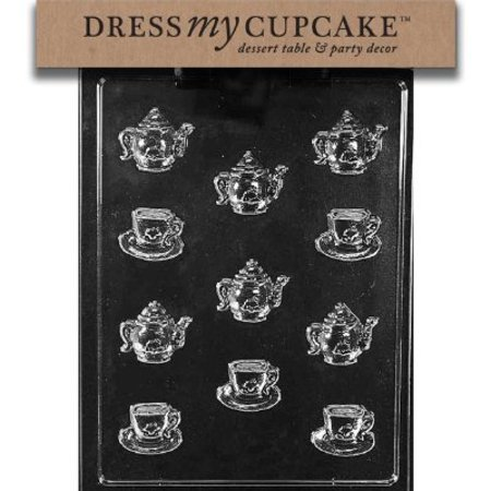Dress My Cupcake Chocolate Candy Mold, Tea Pots and Demitasse Cup