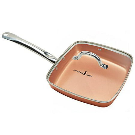 Copper Chef Square Fry Pan With Lid 9 5 Inch Walmart Com