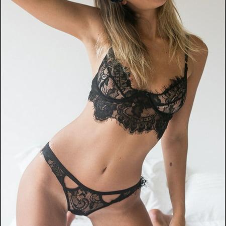 b626abddef Night-life - Sexy Harness Perspective Bikini Sexy Underwear Lace Hollow  Women Bra Underwear Set - Walmart.com