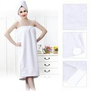 WALFRONT Women Soft Bath Body Wrap Set Shower Spa Towel Bath Wrap with Adjustable Hair Drying Cap Hair Turban