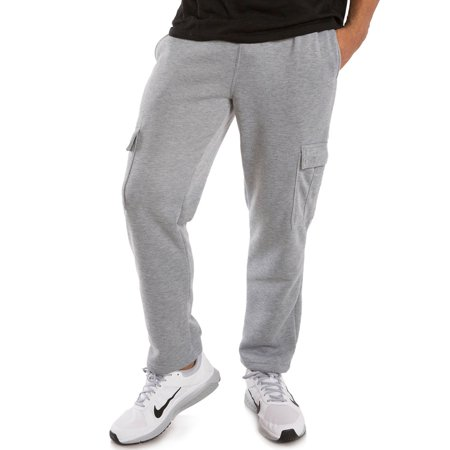 Durable Single Bottom (Vibes Men's Heather Grey Fleece Relaxed Fit Cargo Pants Drawstring Waist Open Bottom)