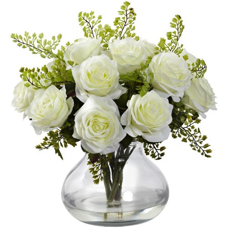 August Grove Rose and Maiden Hair Floral Arrangement with Vase