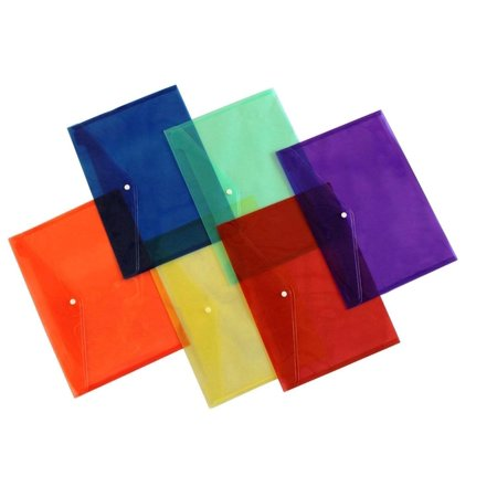 Lightahead La 7550 Clear Document Folder With Snap Button Premium Quality Poly Envelope  Us Letter   A4 Size  Set Of 6 In 6 Assorted Colors  Blue  Green  Orange  Yellow  Purple  Maroon