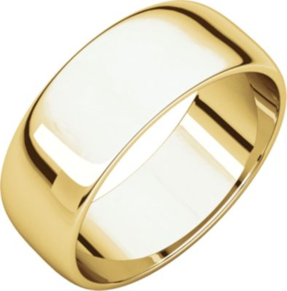 7mm Light Half Round in 10k Yellow Gold - Size 7.5