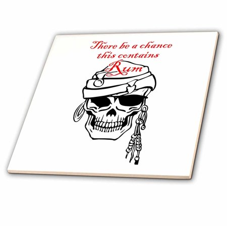 3dRose May Contain Rum- Pirate Skull with Eye Patch Design - Ceramic Tile, 4-inch