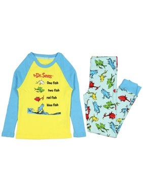 Dr. Seuss Book One Fish Two Fish Red Fish Blue Fish Big Kids Pajama Sleep Set with Gift Box