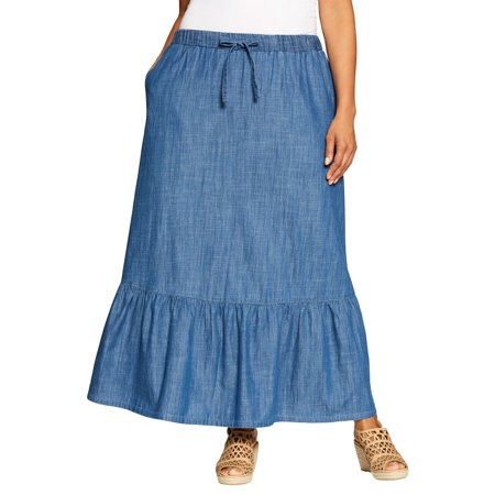 Woman Within Plus Size Drawstring Chambray Skirt
