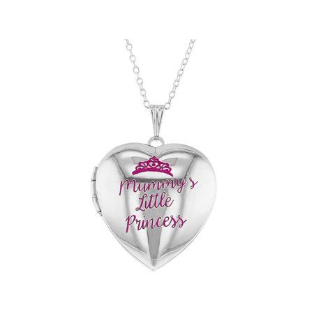 Pink Princess Crown Girls Heart Photo Locket Pendant Necklace 19