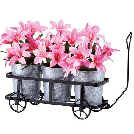 Plain Holder - Triple Plant Trolley Holder with Three Galvanized Metal Planter Set - Seasonal Outdoor Decorative Accessories