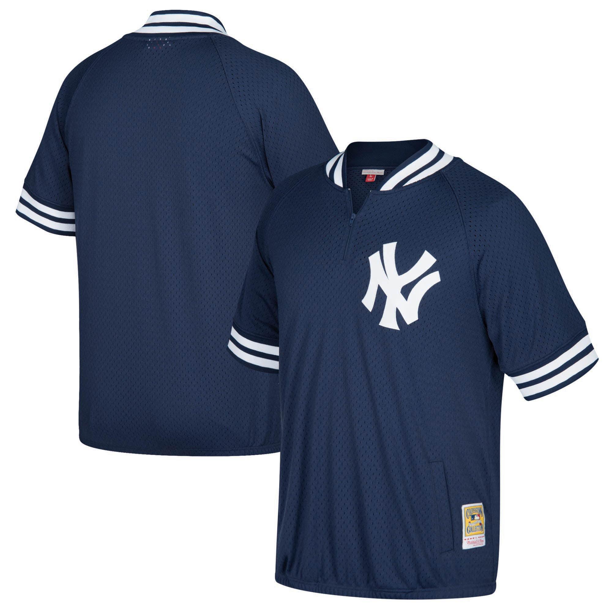 New York Yankees Mitchell & Ness Cooperstown Collection Mesh Batting Practice Quarter-Zip Jersey - Navy