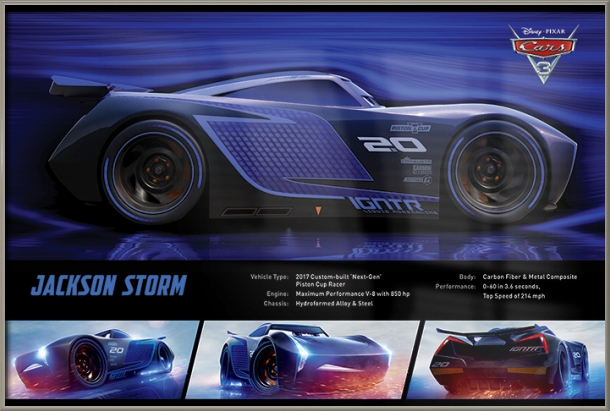 "Cars 3 Disney   Pixar Movie Poster   Print (Jackson Storm   Stats) (Size: 36"" x 24"") by"