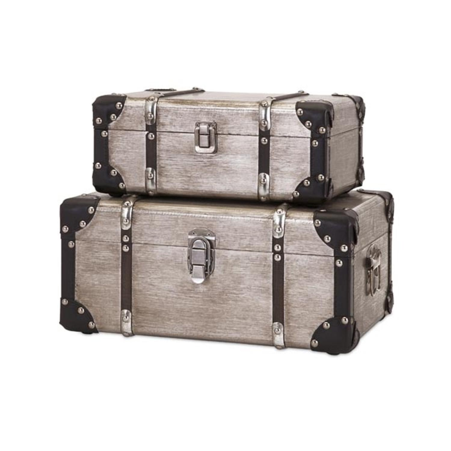 Set of 2 Dapper Aplomb Wooden Storage Box Suitcase Trunks with Metal Accents 15""