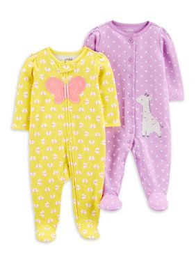 Child of Mine by Carter's Newborn Baby Girl Interlock Cotton Sleep 'N Play Footed Pajamas, 2-Pack (Preemie-9M)
