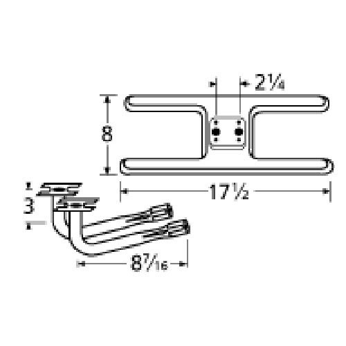 Stainless Steel Burner Replacement for Gas Grill Models Sunbeam 3788 series and