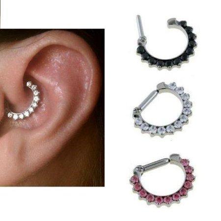 Rook Daith Tragus Ear Clicker with jewels  14 gauge 8mm 5/16 body jewelry (Gem Body Jewellery)