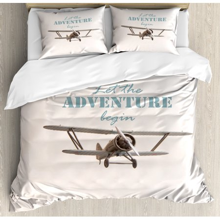 Adventure Duvet Cover Set, Let The Adventure Begin Inscription and Biplane Tropical Summer Vacation, Decorative Bedding Set with Pillow Shams, Cream Turquoise Tan, by Ambesonne ()