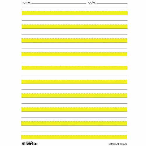 HiWrite Paper Highlighted Yellow Lines Writing Paper