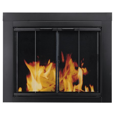 Pleasant Hearth Ascot Black Fireplace Glass Doors - Large ()