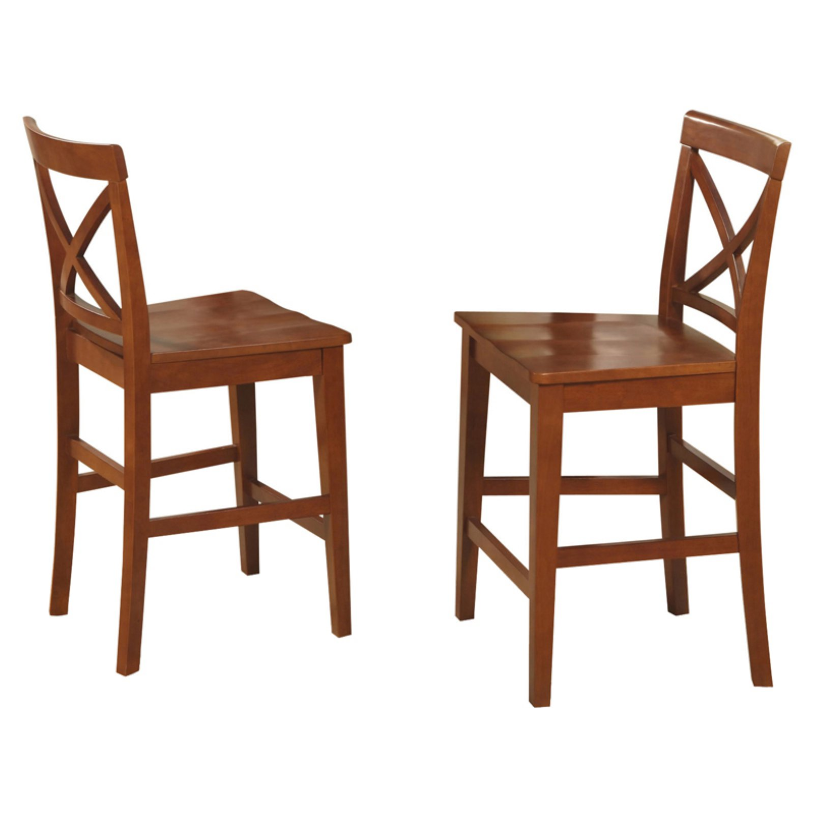 East West Furniture Boston X-Back Counter Height Stool with Wooden Seat - Set of 2