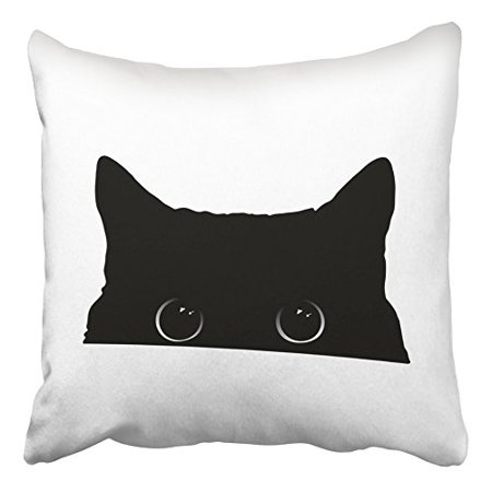 ECCOT White Halloween Cute Black Cat Face with Big Eyes Peeking Silhouette Drawing Pillow Case Pillow Cover 18x18 inch - Drawing Cat Faces For Halloween