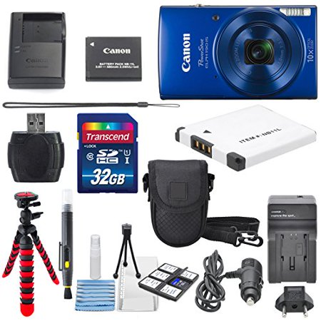 Canon PowerShot ELPH 190 IS Digital Camera (Blue) with 10x Optical Zoom and Built-In Wi-Fi with 32GB SDHC + Flexible tripod + AC/DC Turbo Travel Charger + Replacement battery + Protective camera