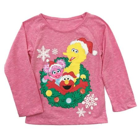 Sesame Street Infant & Toddler Girls Elmo Abby Christmas Holiday Tee Shirt - Sesame Street Purple Character