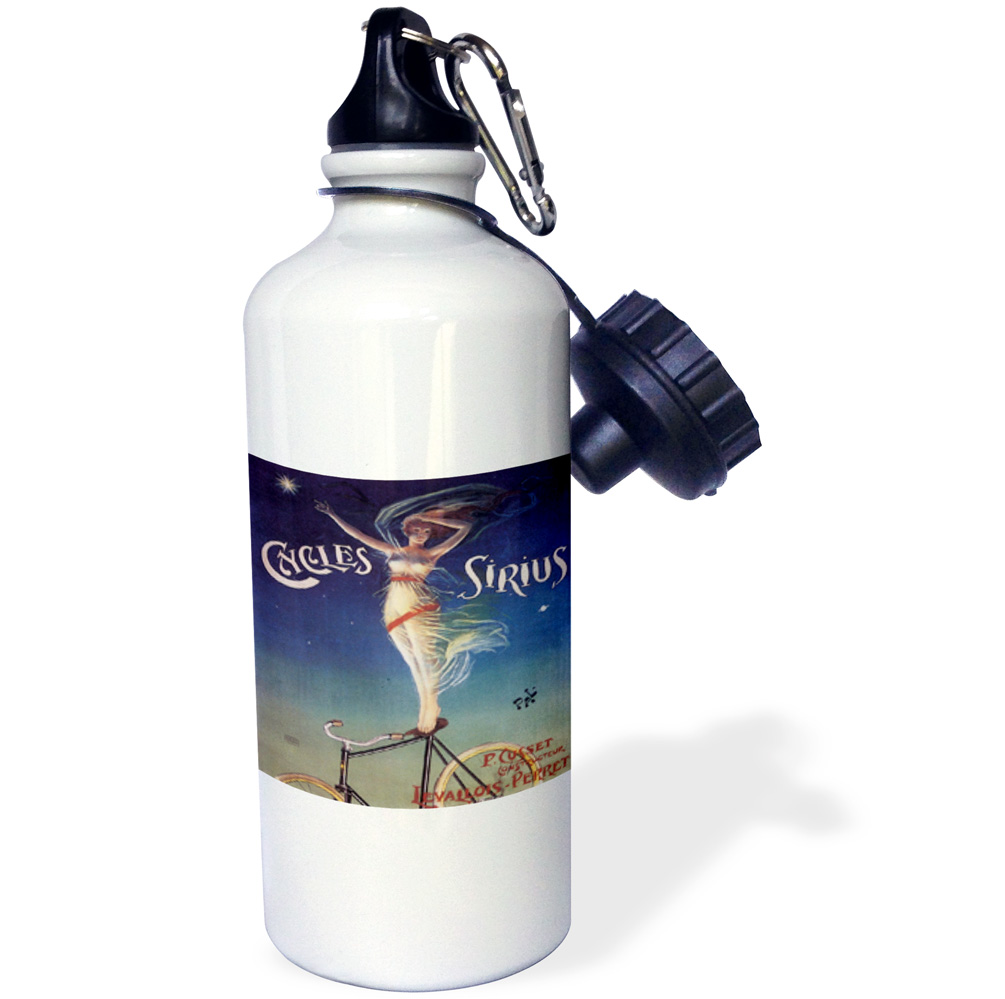 3dRose Cycles Sirius Woman Standing on a Bicycle Seat Advertising Poster, Sports Water Bottle, 21oz