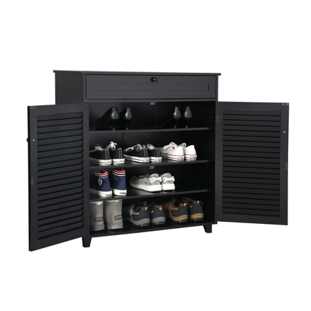 Shoe Rack 3 Shelf 1 Drawers 2 Doors Entryway Stand Shoes Storage Cabinet ()