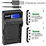 Kastar Battery (X2) & SLIM LCD Charger for Fujifilm NP_45, Nikon EN_EL10, Olympus LI_42B LI_40B, Kodak KLIC_7006 K7006, Casio NP