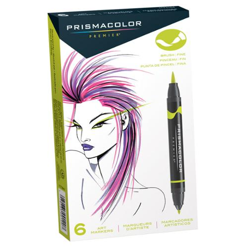 Prismacolor Premier Art Marker Set of 6 Brush/Fine Tip Assorted Colors