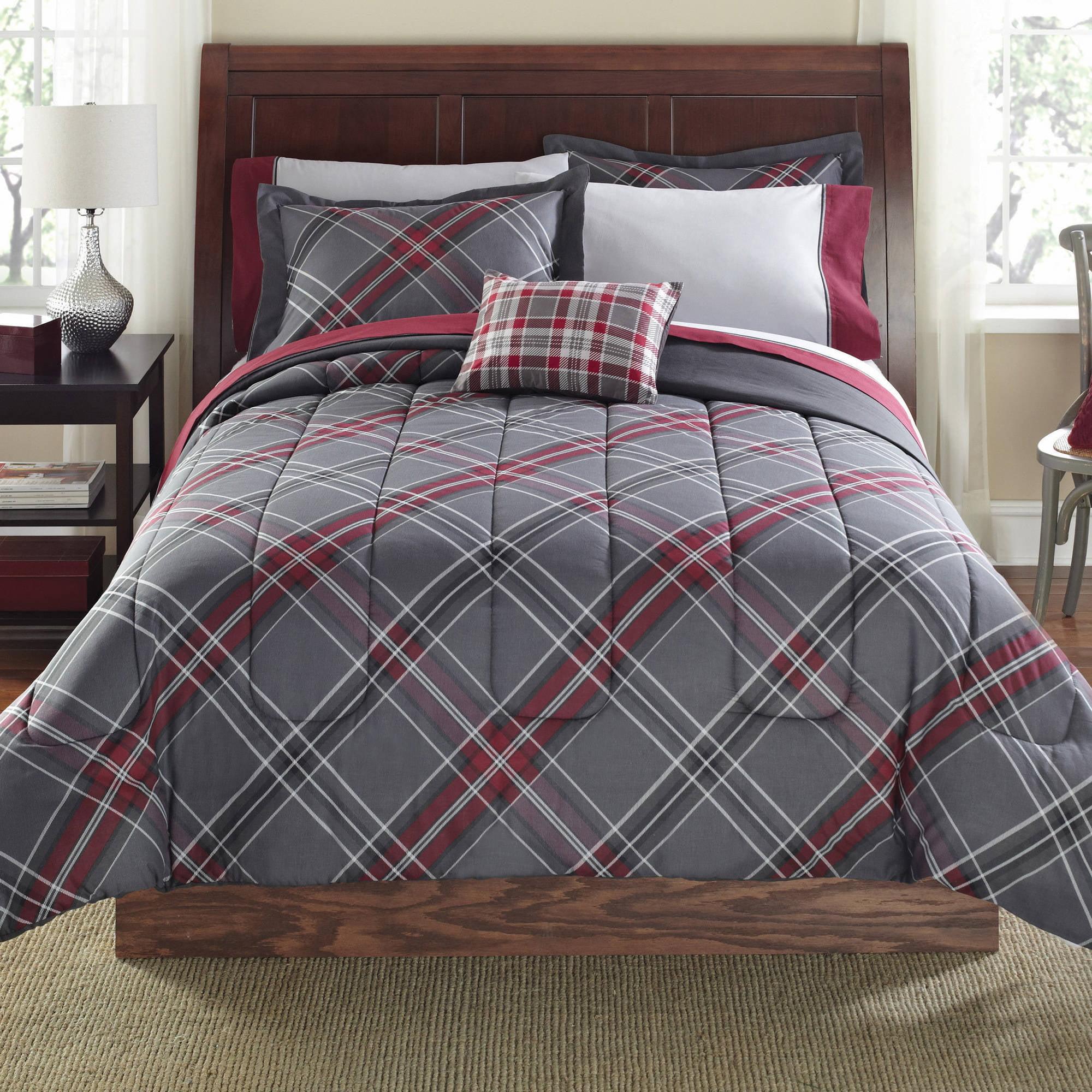 plaid comforter set king Mainstays 8 Piece Bed in a Bag Bedding Comforter Set, Grey plus  plaid comforter set king