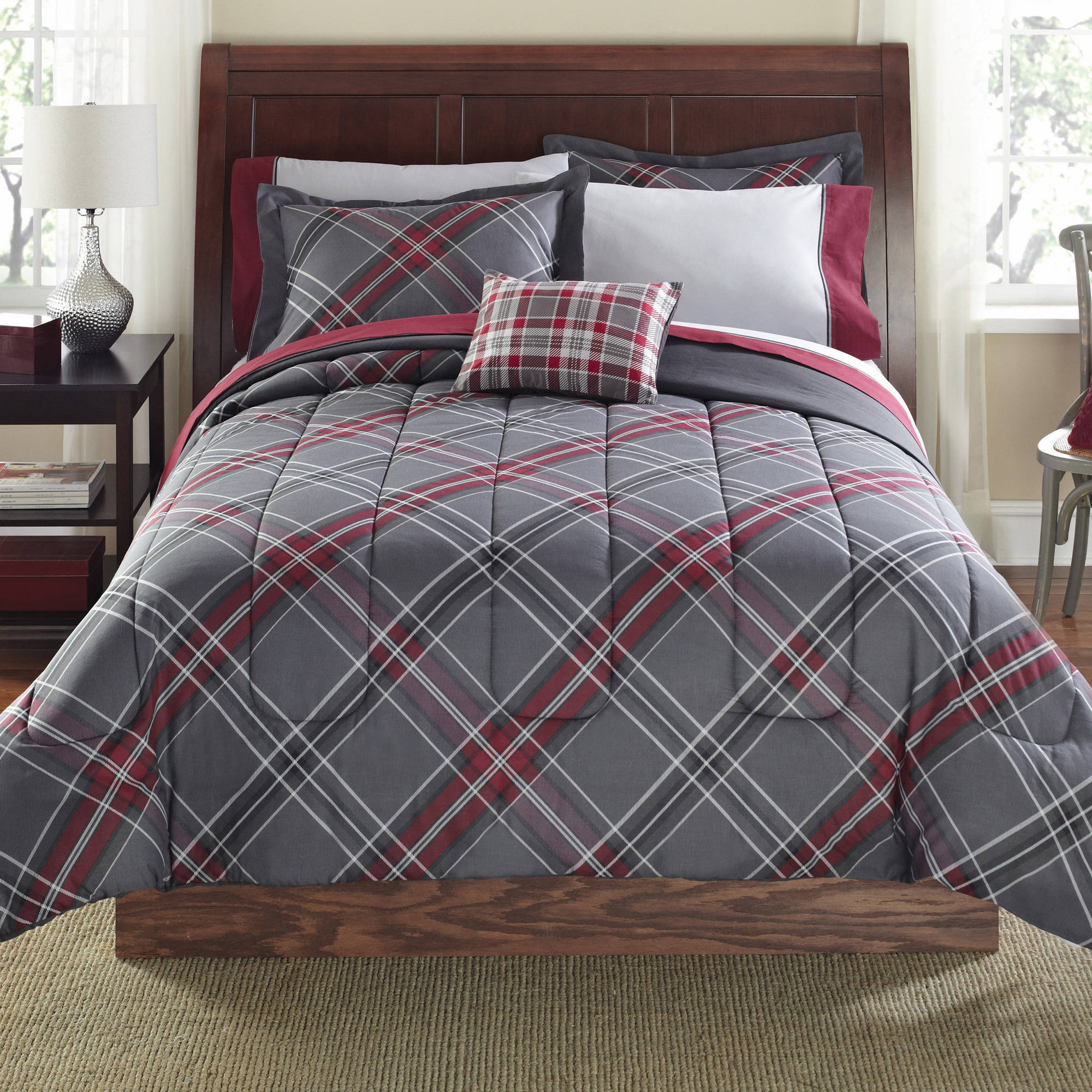 Mainstays 8 Piece Bed-in-a-Bag Bedding Comforter Set, Grey plus Red Plaid, Multiple Sizes