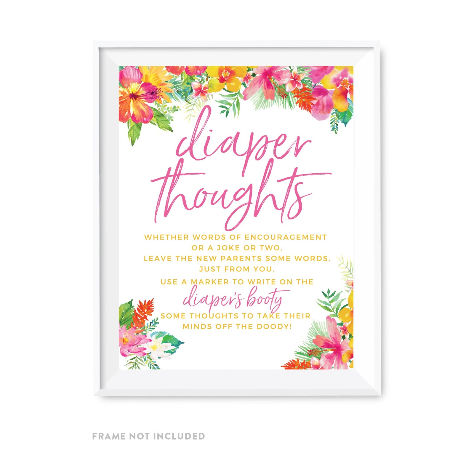 Tropical Floral Garden Party Baby Shower Diaper Thoughts Party Sign
