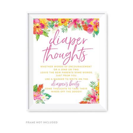 Tropical Floral Garden Party Baby Shower, Diaper Thoughts Party Sign, 8.5x11-inch Games Activities and Decorations