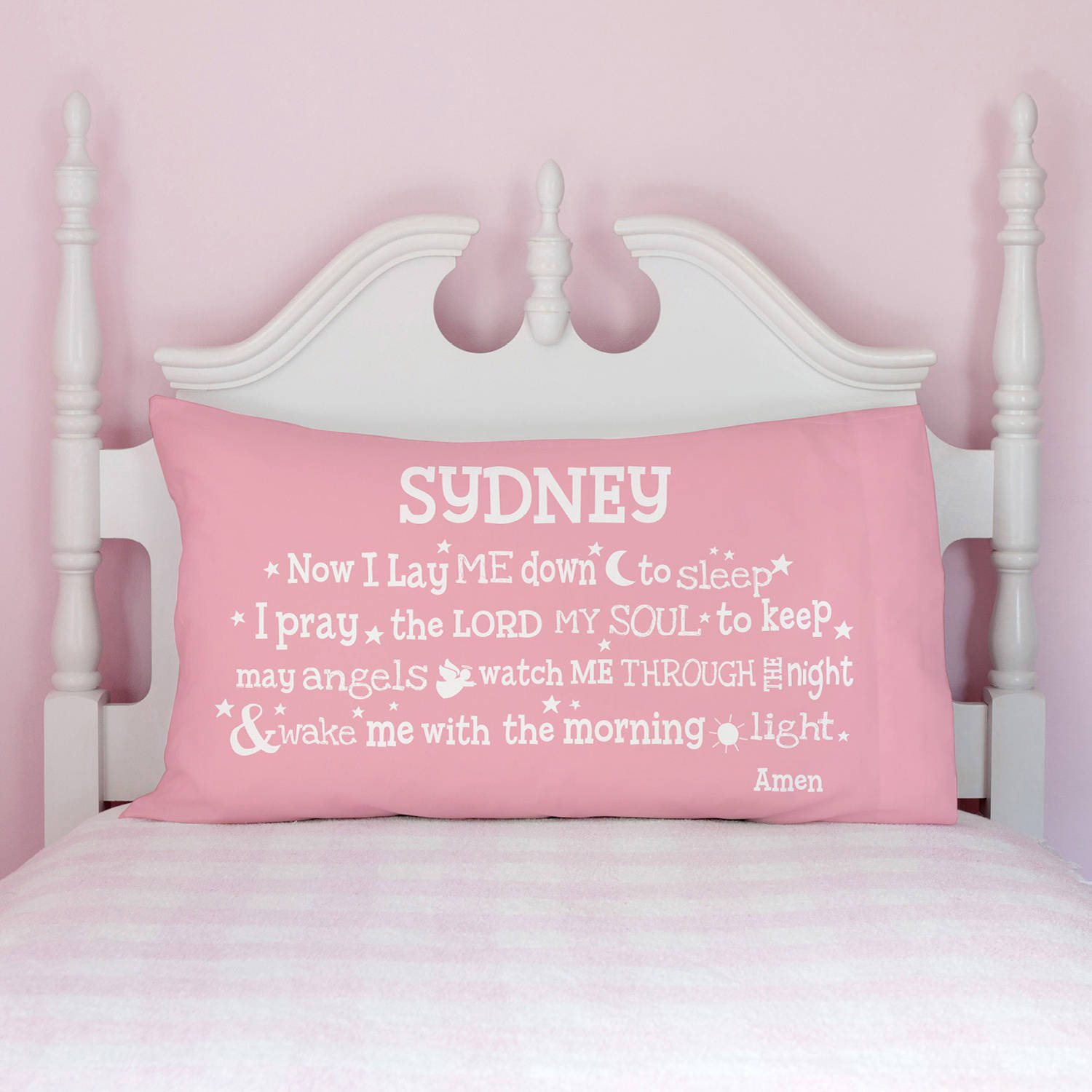 """Now I Lay Me Down To Sleep"" Personalized Pillowcase, 4 Colors to Choose From"
