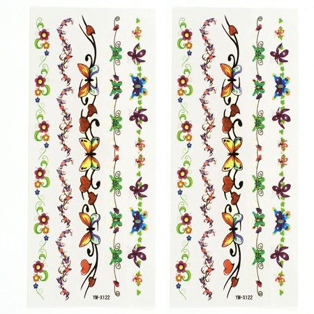 Flower Vines Tattoo (Unique Bargains 2 Sheets Flower Vine Sexy Body Art Sticker Temporary Tattoos Multicolor )