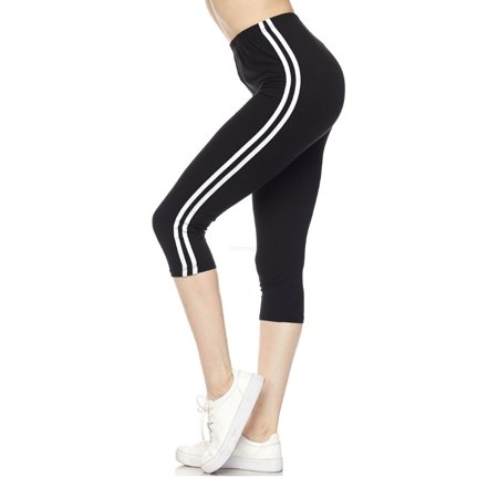adef8dcd9d8b07 Kuda N.Mix - Women's Capri Leggings with White Stripes Soft Skinny Stretch  Sports Pants - Walmart.com