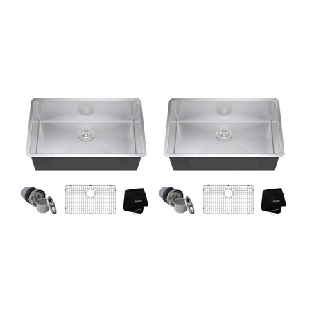 "KRAUS Standart PRO 30"" 16 Gauge Undermount Single Stainless Steel Sink (2 Pack)"