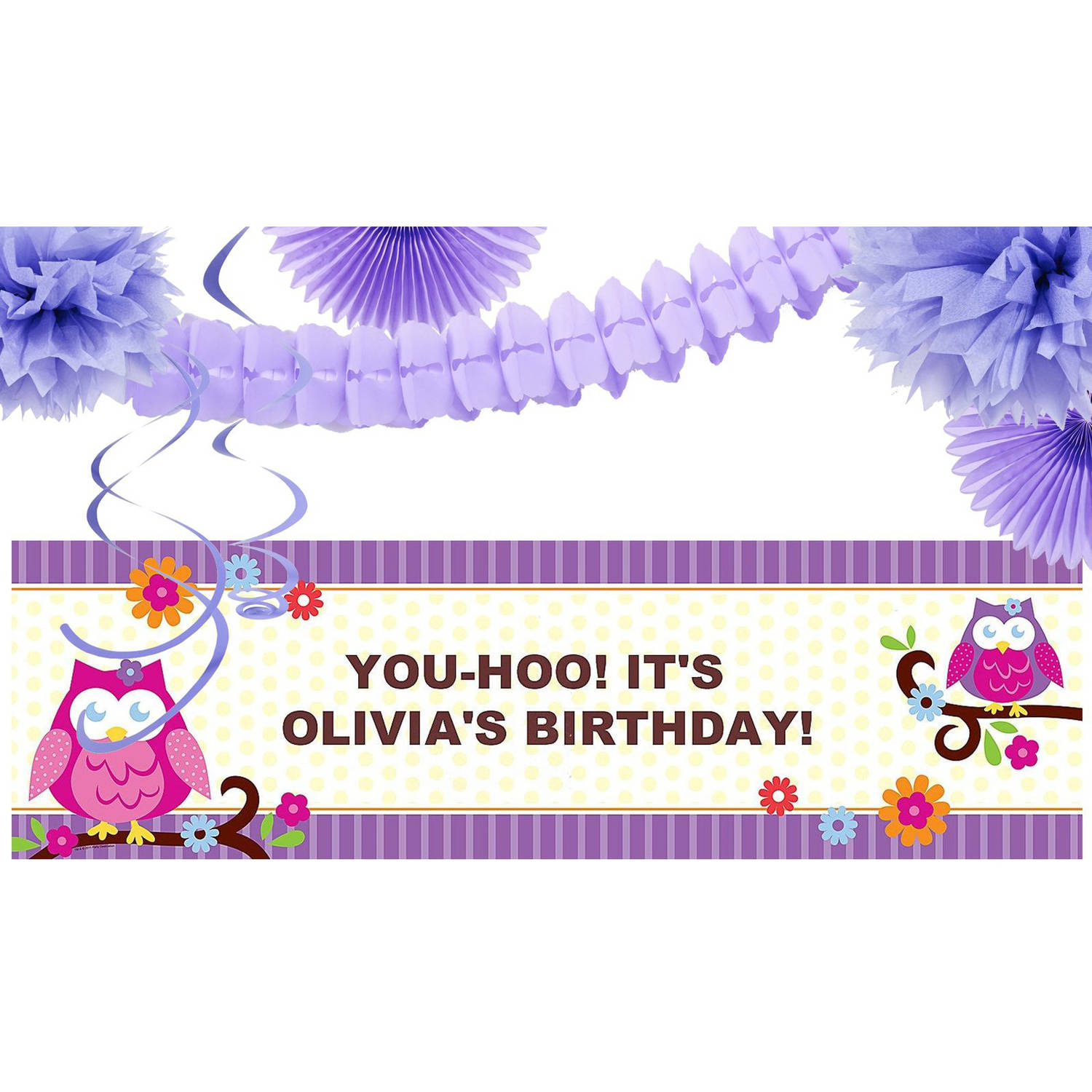 Owl Blossom Party Banner Decoration Kit
