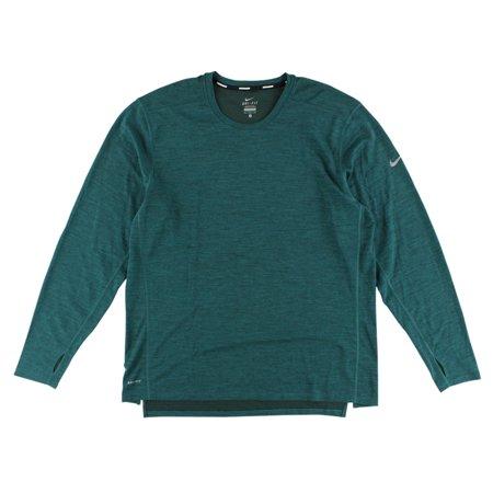 Nike Womens Dri FIT Wool Crew Running Shirt Green