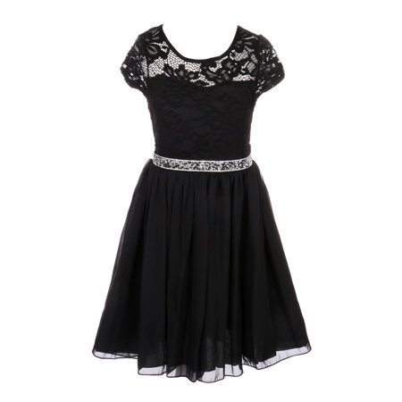 Juniors Black Dress (Girls Black Lace Stone Belt Chiffon Junior Bridesmaid Party)