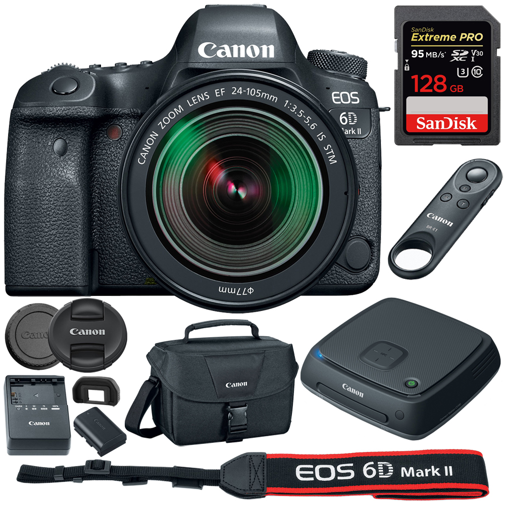 Canon (1897C021) EOS 6D Mark II 26.2MP Full-Frame DSLR Camera w  EF 24-105mm IS STM Lens + Canon Connect... by Canon