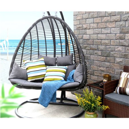 Baner Garden Outdoor Egg Shaped Swing Chair Black