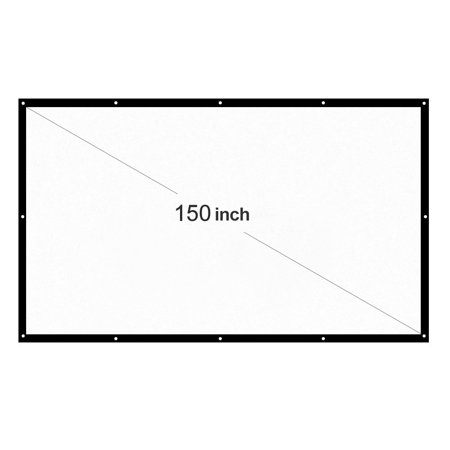 150'' Portable Foldable Projector Screen HD 16:9 White Dacron 150 Inch Diagonal Projection Screen Home