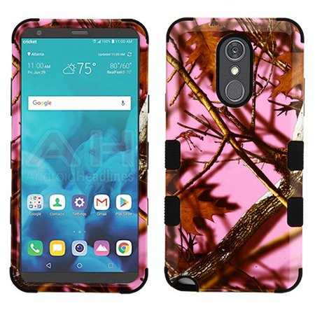 LG Stylo 4 Phone Case Tuff Hybrid Shockproof Impact Rubber Dual Layer Hard Soft Protective Hard Case Cover Pink Oak Phone Case for LG Stylo 4