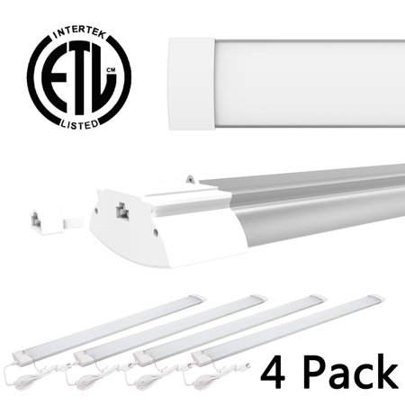 4 Pack 42W 4ft LED Shop Light Bright White Garage Workbench Ceiling Utility Linkable Light