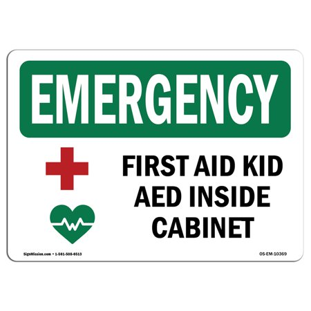 Osha Emergency Sign First Aid Kit Aed Inside Cabinet With Symbol