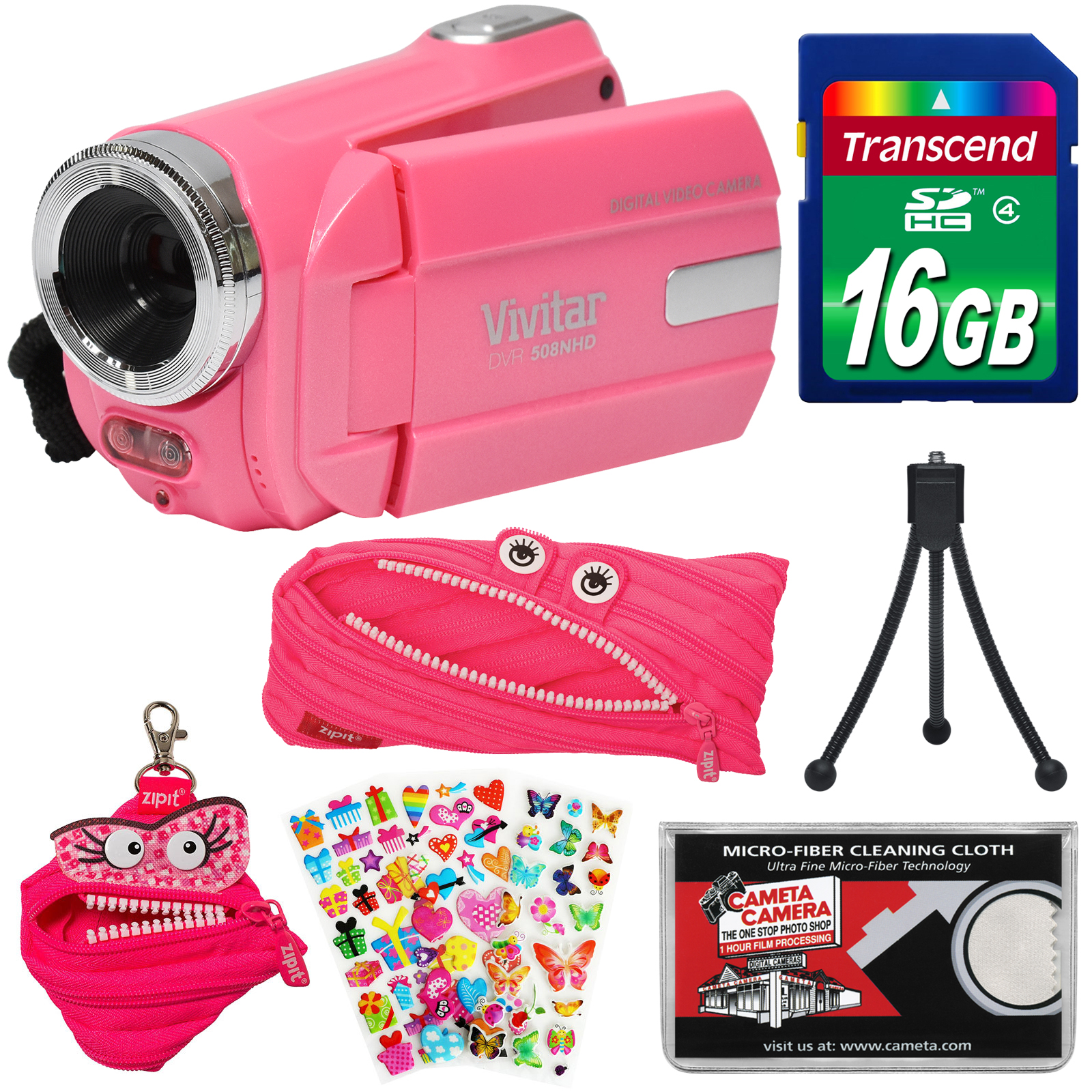 Vivitar DVR 508 NHD Digital Video Camera Camcorder (Bubble Gum Pink) with 16GB Card + Monster Case + Pouch +... by Vivitar